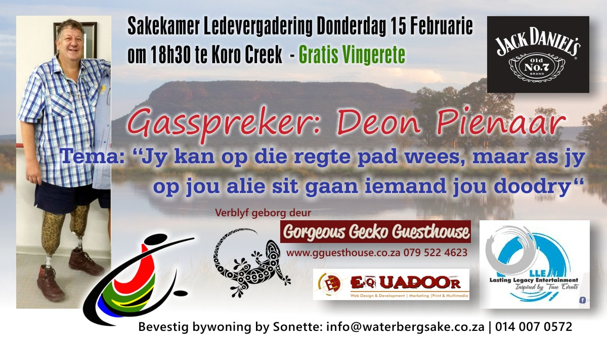 Sakekamer Ledevergadering Donderdag 15 Februarie 2018