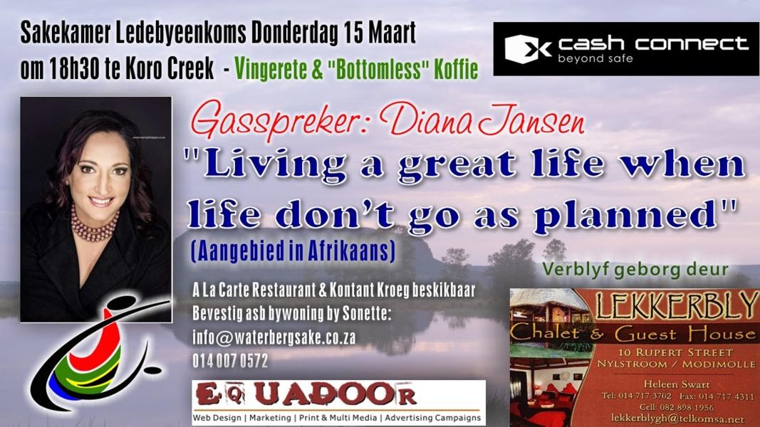 Uitnodiging: Ledebyeenkoms Don 15 Mrt 18h30 te Koro Creek – Gasspreker Diana Jansen